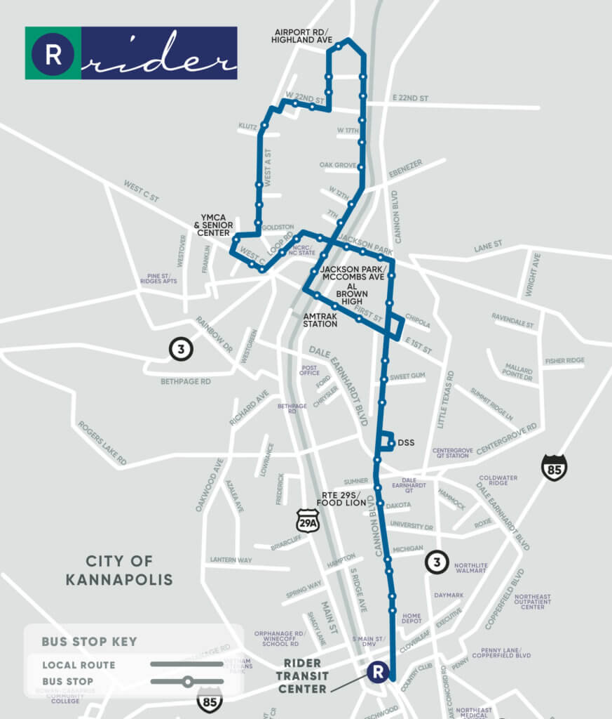 Blue Route Map. Key stops at Airport Road/Highland Avenue, YMCA & Senior Center, Jackson Park/McCombs Avenue, Al Brown High, Amtrak Station, DSS, and Route 295/Food Lion.