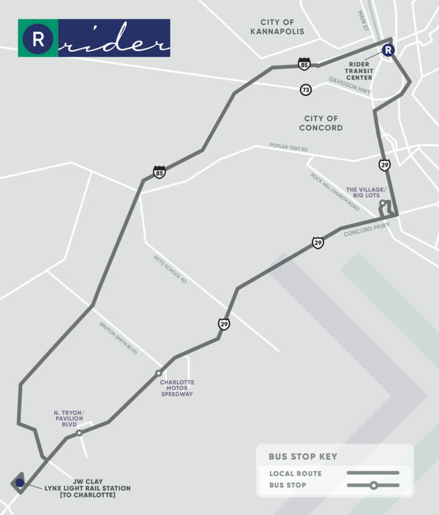 CCX Route Map. Key stops at North Tryon/Pavilion Boulevard, Charlotte Motor Speedway, and The Village/Big Lots.