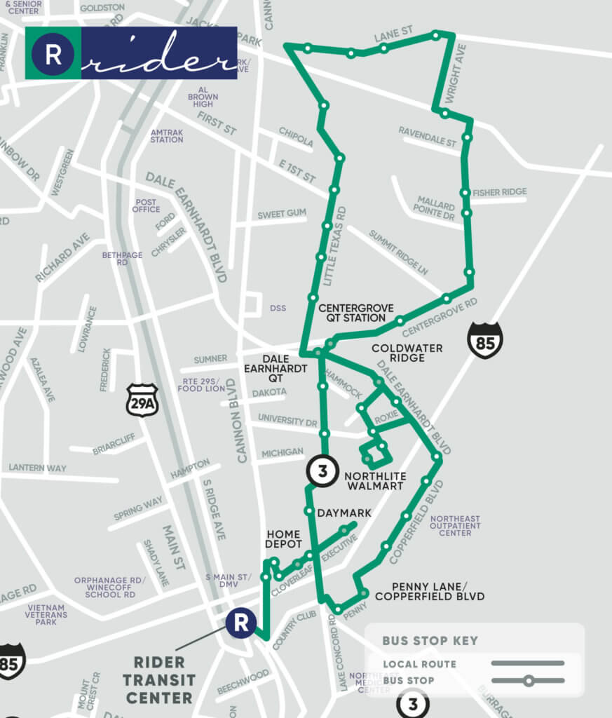 Green Route Map. Key stops at CenterGrove QT Station, Coldwater Ridge, Dale Earnhardt QT, Northlite Walmart, Daymark, Home Depot, and Penny Lane/Copperfield Boulevard.