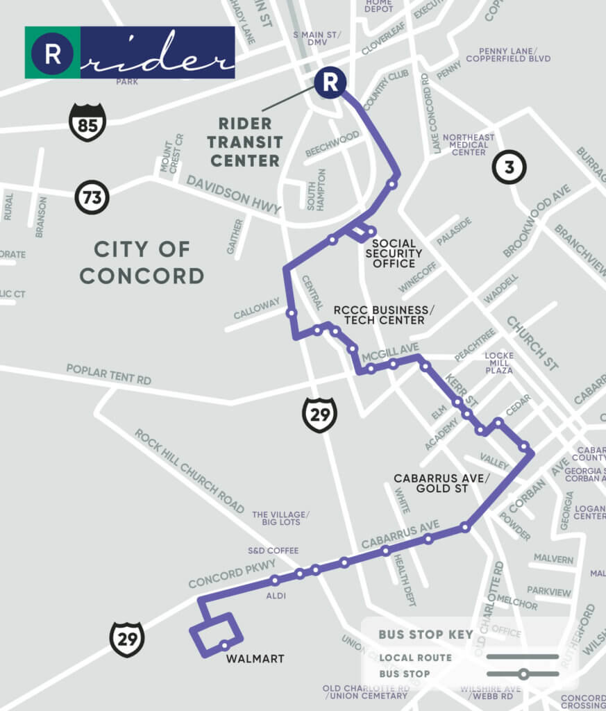 Purple Route Map. Key stops at Social Security Office, RCCC Business/Tech Center, Cabarrus Avenue/Gold Street, and Walmart.