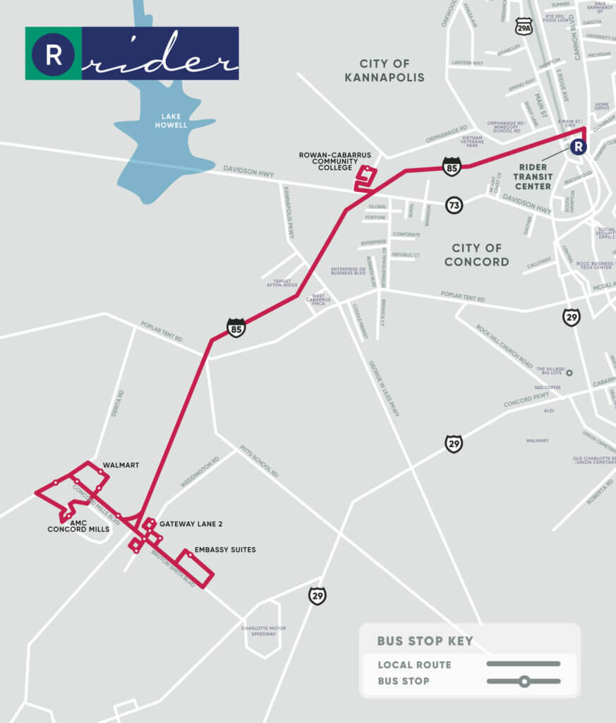 Red Route Map. Key stops at Rowan-Cabarrus Community College, Walmart, Gateway Lane 2, AMC Concord Mills, and Embassy Suites.