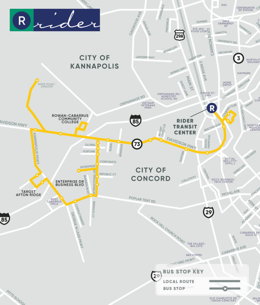 Yellow Route Map. Key stops at Rowan Cabarrus Community College, Enterprise Drive Business Boulevard, and Target Afton Ridge.